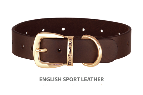 Divine Dog Collar, English Sport Leather Havana-Gold 1 1/4 inch Wide (32mm), Fits Neck 16 to 18 Inches