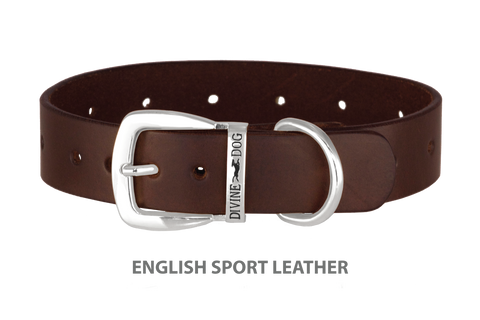 Divine Dog Stud Ready Collar, Havana - English Sport Leather with Silver Plated Buckle $24.99 to $69.99