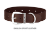Divine Dog Collar, English Sport Leather Havana-Silver 1 1/4 inch Wide (32mm), Fits Neck 16 to 18 Inches