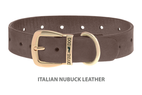 Divine Dog Collar, Nubuck Ashford Grey-Gold 1 1/2 inch Wide (38mm), Fits Neck 20 to 22 Inches