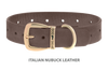 Divine Dog Collar, Nubuck Ashford Grey-Gold 1 1/4 inch Wide (32mm), Fits Neck 20 to 22 Inches