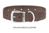 Divine Dog Collar, Nubuck Ashford Grey-Silver 1 1/4 inch Wide (32mm), Fits Neck 20 to 22 Inches