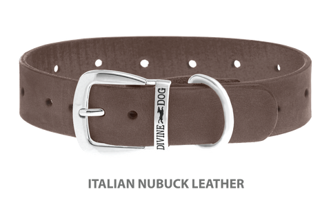 Divine Dog Collar, Nubuck Ashford Grey-Silver 1 1/4 inch Wide (32mm), Fits Neck 16 to 18 Inches