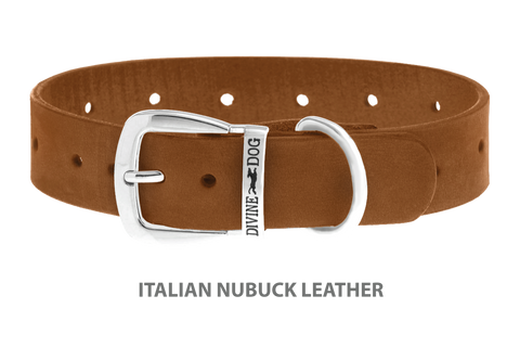 Divine Dog Collar, Nubuck Latte-Silver 1 1/4 inch Wide (32mm), Fits Neck 16 to 18 Inches