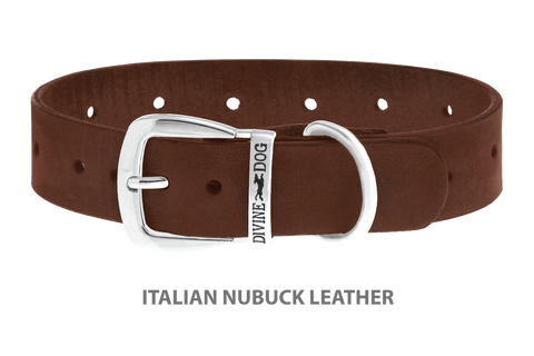 Divine Dog Collar, Nubuck Mocha-Silver 1 1/4 inch Wide (32mm), Fits Neck 16 to 18 Inches