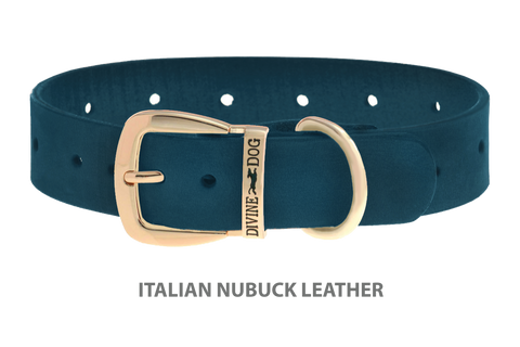 Divine Dog Collar, Nubuck New England Sea-Gold 1 1/4 inch Wide (32mm), Fits Neck 20 to 22 Inches
