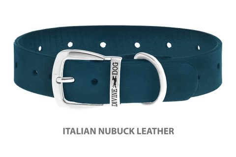 Divine Dog Collar, Nubuck New England Sea-Silver 1 1/4 inch Wide (32mm), Fits Neck 18 to 20 Inches