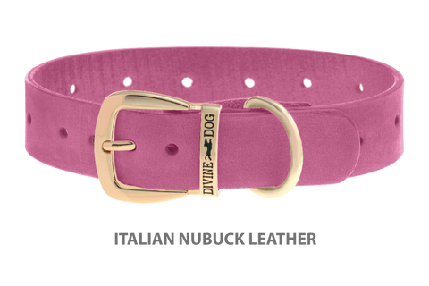 Divine Dog Collar, Nubuck Perfect Pink-Gold 1 1/4 inch Wide (32mm), Fits Neck 16 to 18 Inches