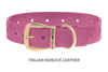 Dog Collar for Divine Dog Studs, Pink Nubuck leather with gold plated hardware