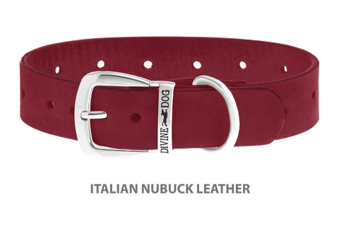 Divine Dog Collar, Nubuck Sunset-Silver 1 1/4 inch Wide (32mm), Fits Neck 20 to 22 Inches