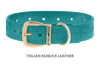 Divine Dog Collar, Nubuck Turquoise-Gold 1 1/4 inch Wide (32mm), Fits Neck 16 to 18 Inches