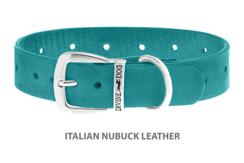 Divine Dog Collar, Nubuck Turquoise-Silver 1 1/4 inch Wide (32mm), Fits Neck 16 to 18 Inches
