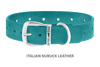 Dog Collar for Divine Dog Studs, Turquoise Nubuck leather with silver plated hardware