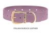Divine Dog Collar, Nubuck Violet-Gold 1 1/4 inch Wide (32mm), Fits Neck 20 to 22 Inches