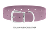Divine Dog Collar, Nubuck Violet-Silver 1 1/4 inch Wide (32mm), Fits Neck 20 to 22 Inches