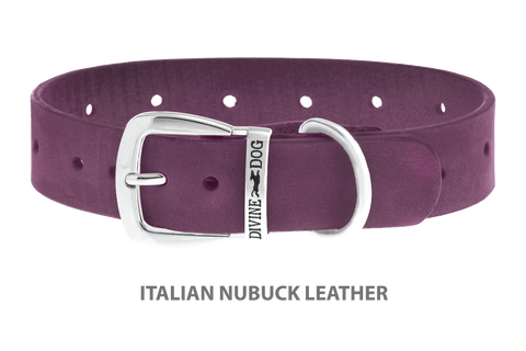 Divine Dog Collar, Nubuck Yummy Plummy-Silver 1 1/4 inch Wide (32mm), Fits Neck 16 to 18 Inches