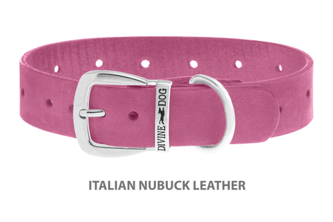 Divine Dog Collar, Nubuck Perfect Pink-Silver 1 1/4 inch Wide (32mm), Fits Neck 16 to 18 Inches
