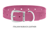 Dog Collar for Divine Dog Studs, Perfect Pink Nubuck leather with silver plated hardware