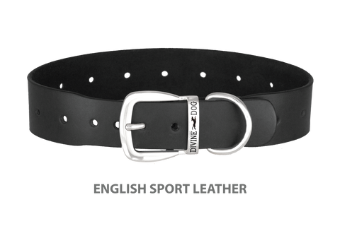 Divine Dog Collar, English Sport Leather Black-Silver 1 1/2 inch Wide (38mm), Fits Neck 20 to 22 Inches