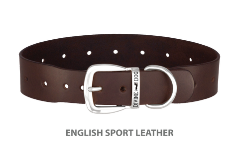 Divine Dog Collar, English Sport Leather Havana-Silver 1 1/2 inch Wide (38mm), Fits Neck 20 to 22 Inches