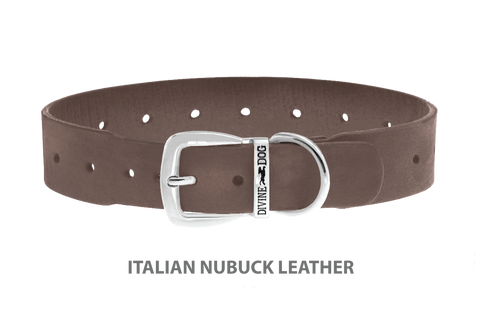 Divine Dog Collar, Nubuck Ashford Grey-Silver 1 1/2 inch Wide (38mm), Fits Neck 22 to 24 Inches