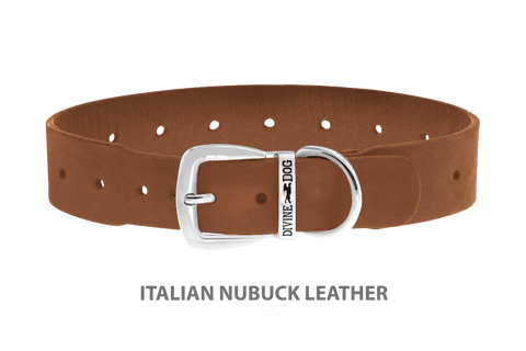Divine Dog Collar, Nubuck Latte-Silver 1 1/2 inch Wide (38mm), Fits Neck 22 to 24 Inches
