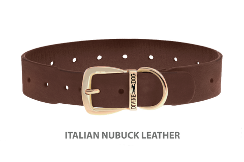 Divine Dog Collar, Nubuck Mocha-Gold 1 1/2 inch Wide (38mm), Fits Neck 22 to 24 Inches