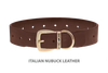 Divine Dog Collar, Nubuck Mocha-Gold 1 1/2 inch Wide (38mm), Fits Neck 20 to 22 Inches