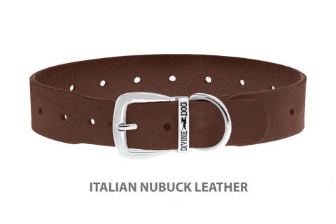 Divine Dog Collar, Nubuck Mocha-Silver 1 1/2 inch Wide (38mm), Fits Neck 20 to 22 Inches