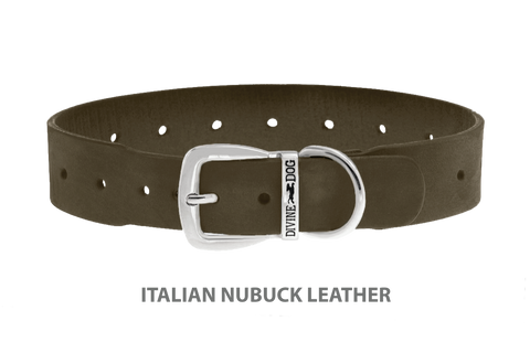 Divine Dog Collar, Nubuck Moss-Silver 1 1/2 inch Wide (38mm), Fits Neck 20 to 22 Inches