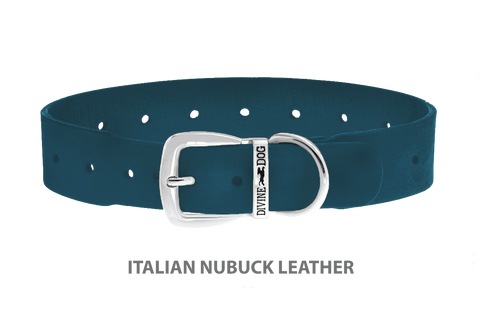 Divine Dog Collar, Nubuck New England Sea-Silver 1 1/2 inch Wide (38mm), Fits Neck 22 to 24 Inches