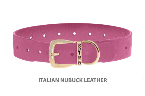 Divine Dog Collar, Nubuck Perfect Pink-Gold 1 1/2 inch Wide (38mm), Fits Neck 20 to 22 Inches