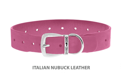 Divine Dog Collar, Nubuck Perfect Pink-Silver 1 1/2 inch Wide (38mm), Fits Neck 22 to 24 Inches
