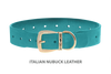Divine Dog Collar, Nubuck Turquoise-Gold 1 1/2 inch Wide (38mm), Fits Neck 22 to 24 Inches
