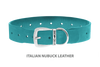 Divine Dog Collar, Nubuck Turquoise-Silver 1 1/2 inch Wide (38mm), Fits Neck 22 to 24 Inches