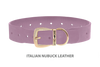 Divine Dog Collar, Nubuck Violet-Gold 1 1/2 inch Wide (38mm), Fits Neck 22 to 24 Inches