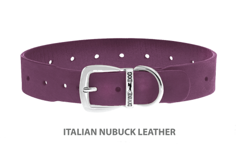 Divine Dog Collar, Nubuck Yummy Plummy-Silver 1 1/2 inch Wide (38mm), Fits Neck 22 to 24 Inches