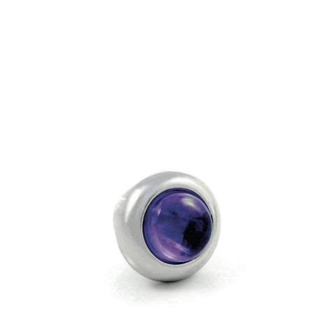 Dog Collar Gemstone Stud with Screw Back - Amethyst