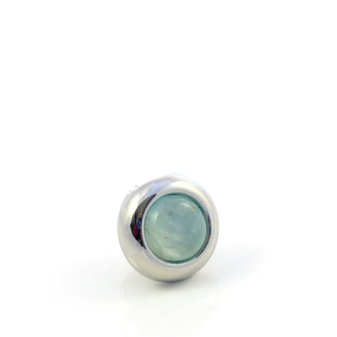 Dog Collar Gemstone Stud with Screw Back - Aquamarine