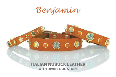 Luxury Leather and Healing Gemstone Dog Collars, Divine Dog Benjamin Collection