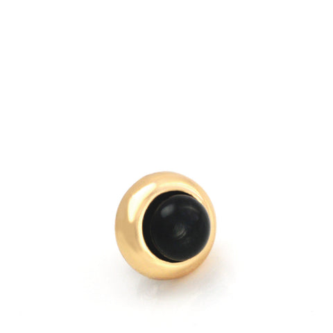 Dog Collar Gemstone Stud with Screw Back - Black Onyx