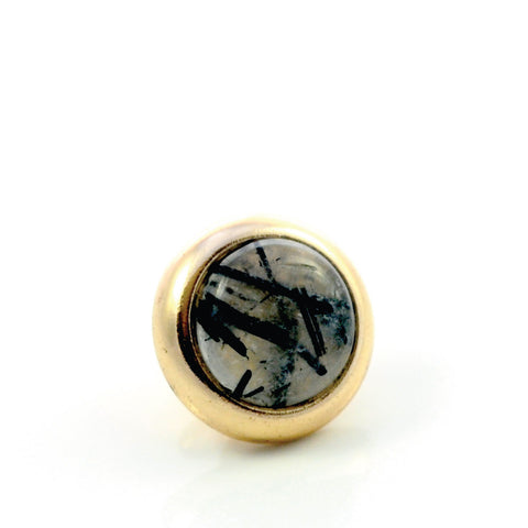 Dog Collar Gemstone Stud with Screw Back - Black Rutilated Quartz