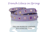 Luxury Leather Dog Collars with Healing Gemstones and Crystal Studs - Inspired by French Lilacs in Spring