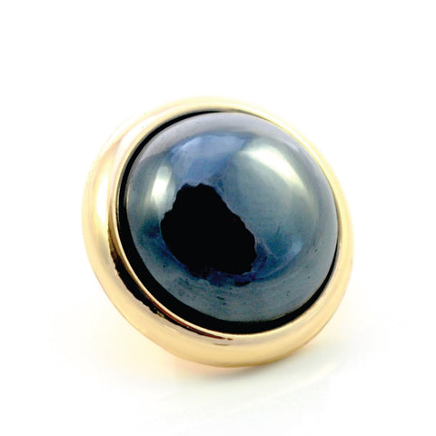 HEMATITE Gemstone, Stability, Balance, Confidence, Medium Gold-Plated Stud