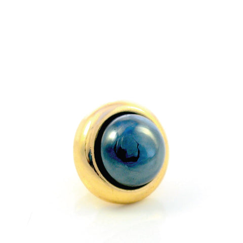 HEMATITE Gemstone, Stability, Balance, Confidence, Small Gold-Plated Stud