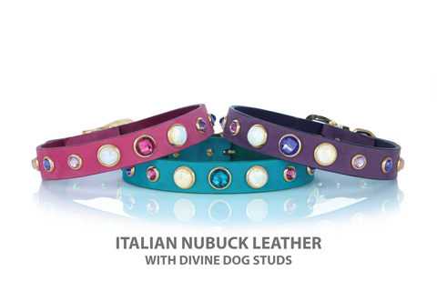 Leather Dog Collar in Pink, Turquoise or Purple Leather with Crystals and Gemstone Studs