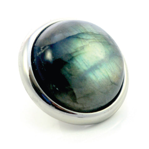 LABRADORITE Gemstone, Intuition, Emotional Balance, Large Silver-Plated Stud