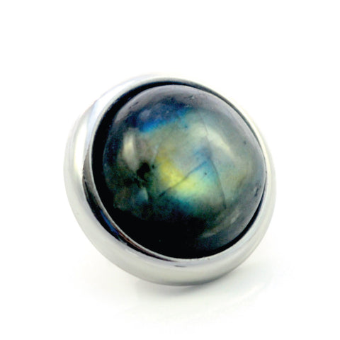 LABRADORITE Gemstone, Intuition, Emotional Balance, Medium Silver-Plated Stud