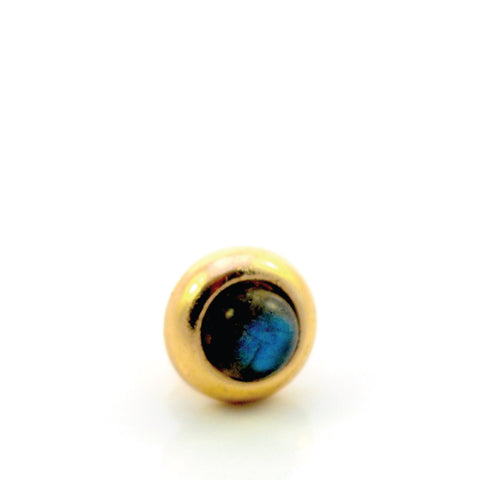 LABRADORITE Gemstone, Intuition, Emotional Balance, Mini Gold-Plated Stud
