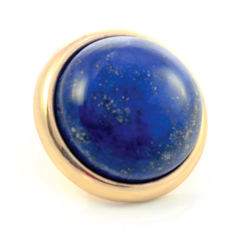 LAPIS LAZULI Gemstone, Wisdom, Courage, Power, Large Gold-Plated Stud